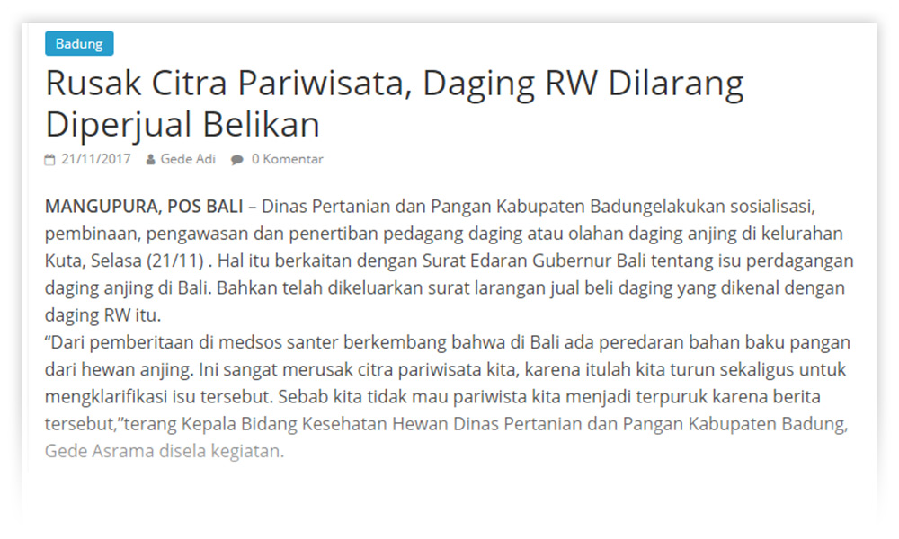 Pos Bali, 21 November 2017, Government of Badung Socializes the Ban of Dog Meat Sale and Consumption