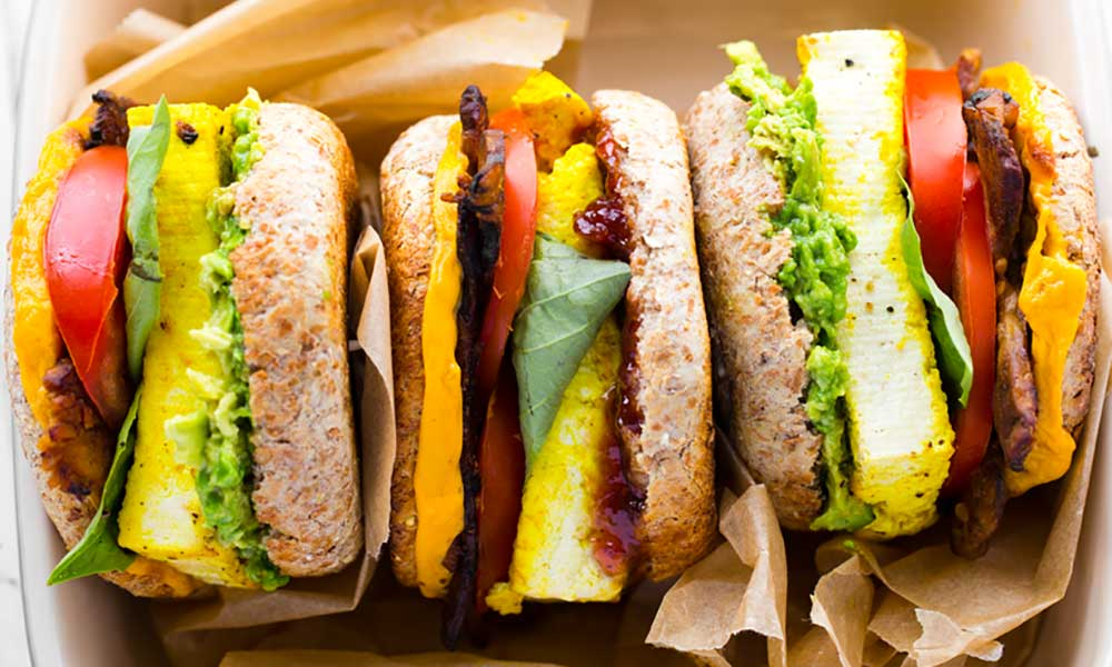 Vegan breakfast sandwiches