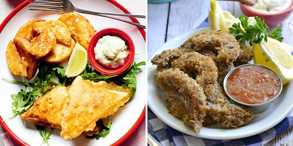 Tofish and chips and crumbed shiitake 'shrimp'. Get these recipes and more.