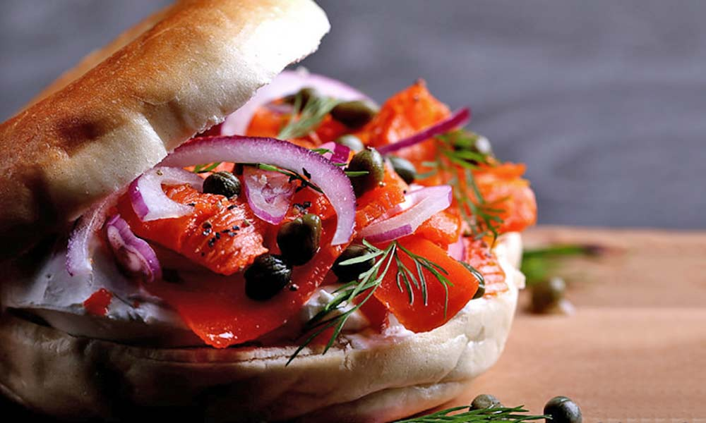 Carrot lox and cream cheese bagels