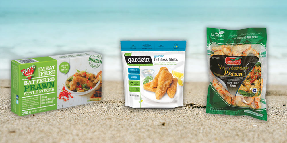 Perfect for 'prawn' cocktails, 'fish' and chips and more! Pictured: Fry's battered prawn style pieces, Gardein fishless filets and Lamyong vegetarian prawn