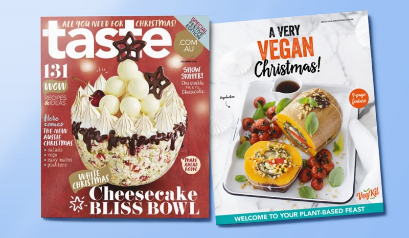 While Christmas tends to be a peak time of suffering for animals in factory farms, it's also fast becoming a peak time of curiosity for people wanting to put more veg meals on the table. Our 9-page recipe 'flip-book' in Taste Magazine offered those readers some gorgeous, festive options for an animal-free Christmas spread.